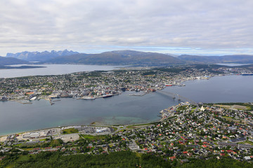 Tromso city seen from nearby mountains