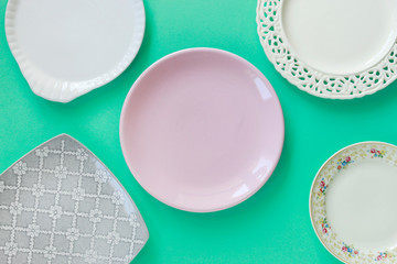 Empty plates, top view.