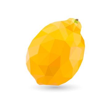 Low poly lemon. Polygonal illustration. Vector isolated on white background. Geometric polygonal fruit, triangles. Triangle lemon. Triangulation of a ripe lemon.