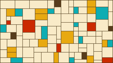 Neoplasticism (Piet Mondrian) imitation pattern with retro colors. Large size background texture.