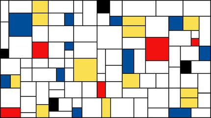Neoplasticism (Piet Mondrian) imitation pattern. Large size background texture.