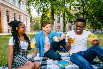 Group of young cheerful coworkers multiethnic students friends using lunch break time having fun outdoors on green lawn, celebrating the start of a new academic year with fruit drinks.