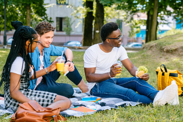 Group of happy students enjoying picnic on green lawn of school yard, drinking fruit drinks and eat cheeseburger . Multiethnic friends sharing ideas during free time outdoor.