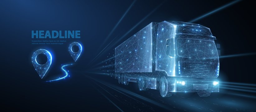 Truck. Abstract vector 3d heavy lorry van. Highway road. Isolated on blue.