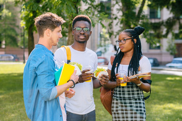 African american and caucasian male and female students talking in casual clothes outdoors in the summer university campus or park city. University education concept