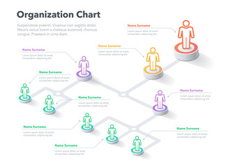 Obraz Modern simple company organization hierarchy chart template with place for your content. Easy to use for your website or presentation. - fototapety do salonu