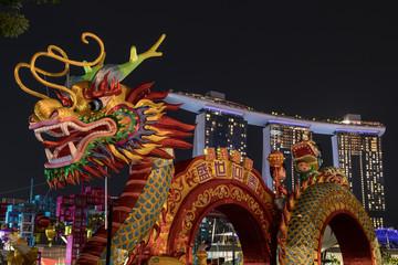 Foto auf Leinwand London roten bus Chinesisches Neujahr, Drache