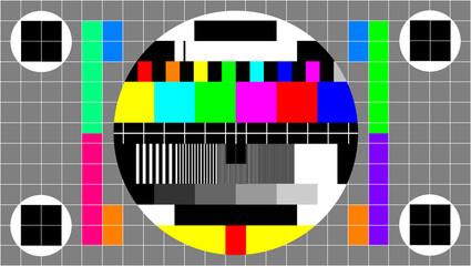 Full HD Size 16:9 , Television Test Of Stripes . Signal TV Pattern Test Or Television Color Bars Signal. End Of The TV ColorS Bars For Background. Wall mural