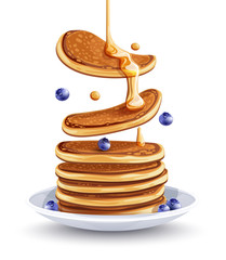 Pancakes with blueberries on the plate. Traditional sweet american breakfast with berries, Isolated on white background, Maple syrup flows at falling pancakes. Eps10 vector illustration.