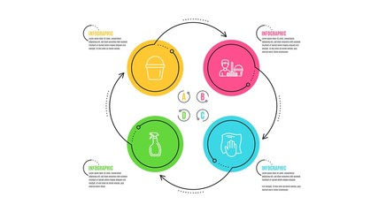 Spray, Cleaning service and Bucket icons simple set. Infographic timeline. Washing cloth sign. Washing cleanser, Bucket with mop, Wipe with a rag. Cleaning set. Cycle infographic. Vector