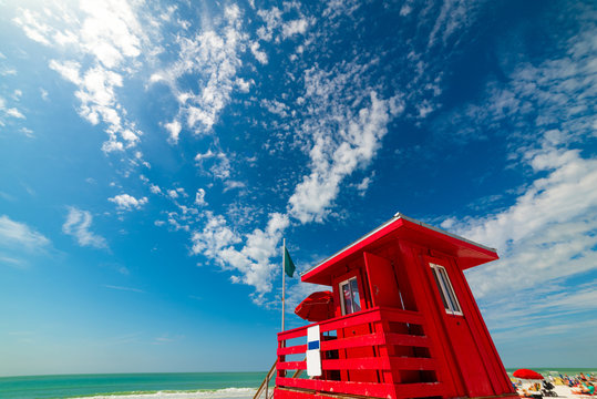 Red lifeguard tower in Siesta Key beach