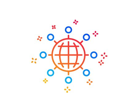 Business networking line icon. International work symbol. Global communication sign. Gradient design elements. Linear international globe icon. Random shapes. Vector