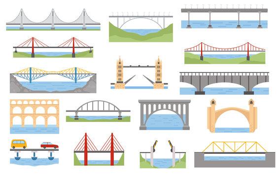 Types of bridges set. Color graphic design, infographic elements