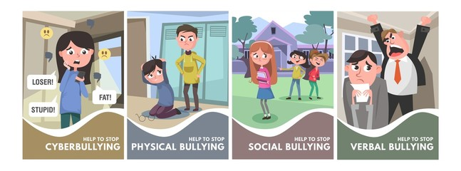Stop bullying posters set. Bullying types concepts in cartoon style verbal, social, physical, cyberbullying. Bullying at school and in the office. Vector illustration