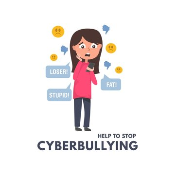 Help to stop cyberbullying concept with girl reading messages and comments in social networks. Children and adults bullying vector illustration. Cyberbullying in social networks illustration.