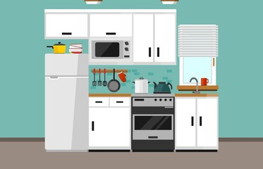 Modern kitchen illustration in flat style. Cartoon white kitchen design with white facade, microwave oven, fridge, window, sink, oven and kitchen supplies. Vector illustration