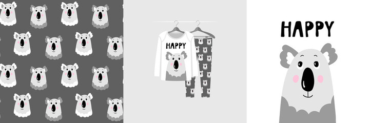 Wall Mural - Seamless pattern and illustration for kid with koala, text Happy. Cute design on pajamas mockup. Baby background for clothes wear, room decor, t-shirt, baby shower invitation, wrapping