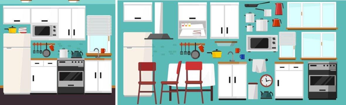 DIY kitchen builder set. Modern kitchen constructor in flat style with furniture and kitchen supplies. White kitchen facade, chair, fridge, table, microwave etc. Vector kitchen builder icon set.