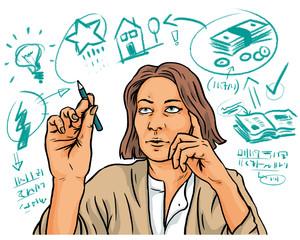 Geschäftsfrau bei Planung von Selbständigkeit