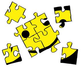 Unfertiges Smiley Puzzle wartet auf Lösung