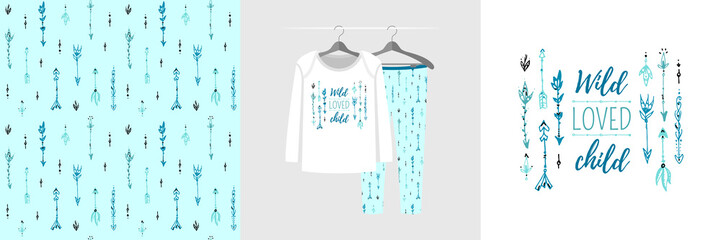 Seamless pattern and illustration for kid with arrows and quote Wild loved child. Cute design pajamas on hanger. Baby background for clothes, room birthday decor, t-shirt print, kids wear fashion