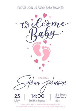 Welcome Baby cute card invitation with lettering and baby footprints. Baby shower card design. Vector illustration