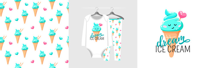 Wall Mural - Seamless pattern and illustration for kid with popsicle, text Dream ice cream. Cute design pajamas on hanger. Baby background for fashion clothes wear, room decor, t-shirt print, baby shower, wrapping