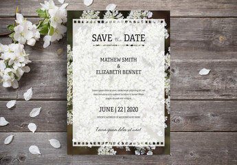 Wedding Invitation Layout with Photo of Flowers