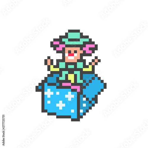 Jack-in-the-box, prank toy clown in a blue box, 8 bit pixel