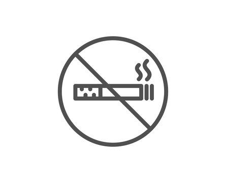 No smoking line icon. Stop smoke sign. Hotel service symbol. Quality design element. Linear style no smoking icon. Editable stroke. Vector