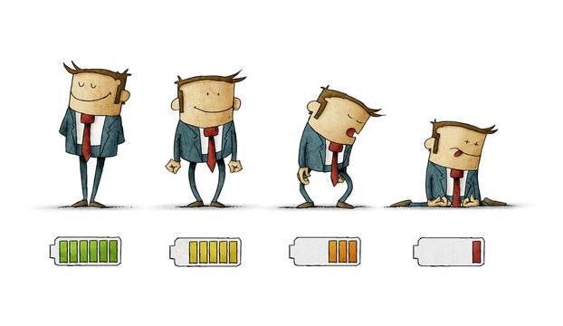 businessman in suit with battery indicator to show his energy level, from fully charged to discharged, isolated