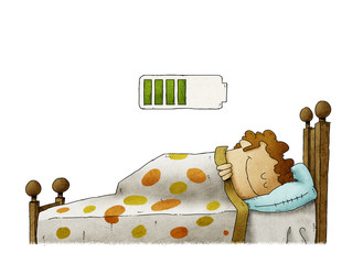 man sleeping at home and charging battery, health concept. isolated