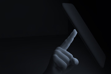 3D rendering - view of hand man finger tapping smart-phone with white light in dark space or room - technology concept.