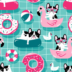 Modèle vectorielle continue avec des chiens mignons avec piscine flotte dans une piscine.