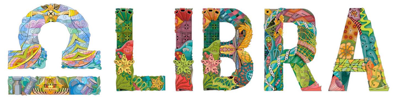 Libra zodiac sign cute retro zentangle stylized in vector