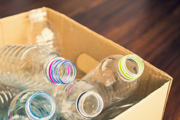 plastic bottles in recycling paper box reuse concept