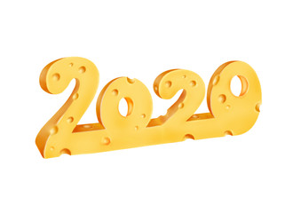 Digital illustration of 2020 numbers made of cheese