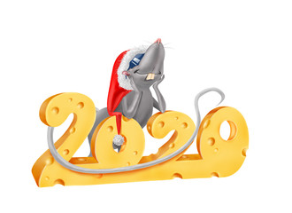 Illustration of a rat wearing Santa hat leaning on 2020 inscription made of cheese
