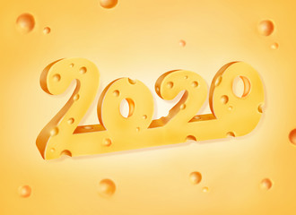 2020 numbers made of cheese against cheese background