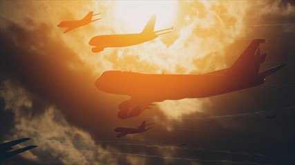 Many Airliners In The Sky In Front Of The Sun