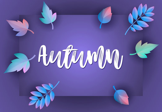 Autumn greeting card design with violet background. Handwritten text with border and fall leaves. Vector illustration can be used for banners, brochures, posters