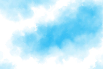 Watercolor sky with beautiful clouds. Abstract blue pastel background. Vector illustration with nice splash. Hand painted colorful texture or backdrop.