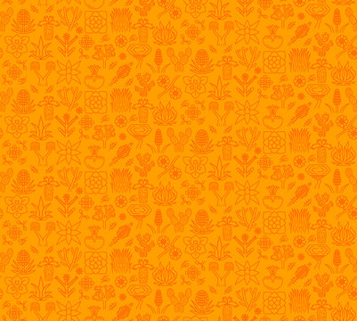 Desert plants vector seamless pattern. Succulents and cactuses orange background. Mexican, California plants and flowers texture. Exotic, tropical flora wallpaper. Textile, wrapping paper design