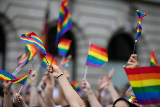 Crowds of people wave gay pride flags at a solidarity march