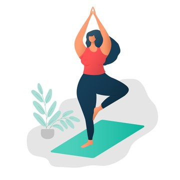 Body positive concept. Happy yoga plus size girl. Attractive overweight woman. Yoga and wellness concept. For Fat acceptance movement no fatphobia. Beautiful plus size girl in tree pose or Vrikshasana