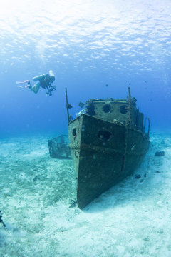 Ship wreck underwater in Cozumel Mexico