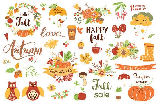 Autumn floral set. Colorful floral elements for fall floral clipart Flowers owl pumpkin apple floral bouquet vector