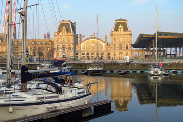 Port with yachts and train station, Ostend, Flanders, Belgium, Europe