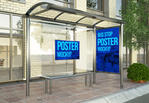 Mockup of Bus Shelter with a Poster and Billboard