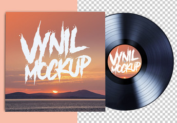 Vinyl Record and Album Mockup